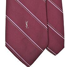 Yves Saint Laurent YSL Maroon Brown Gray Dash Repp Stripe Satin Silk Tie