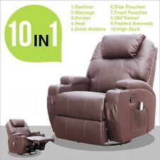 Massage Recliner Sofa Chair Ergonomic Lounge Swivel Heated W/Control in Brown