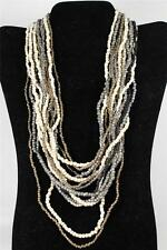Large Mulit-Colored Cream,Silver+String Necklace by About Color Wood Buckle NWT!