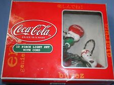 Coca Cola Light Set w/ Cord Soda Strand Christmas Decoration Polar Bears w/ Box