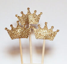 Set of 24 Gold Glitter Crown Cupcake Toppers,Wedding Picks,Party Picks,Food Pick