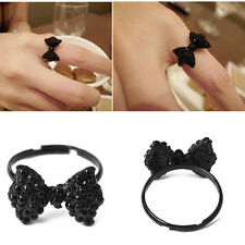ANILLO LAZO NEGRO AJUSTABLE RETRO 17 MM Fashion black bow rings ENVÍO DE ESPAÑA