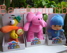 "NEW 3PCS NIP POCOYO & FRIENDS Pocoyo Elly Pato~ 10"" PLUSH DOLLS free shipping"