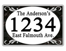 Personalized ADDRESS Sign YOUR NAME Weather Proof Aluminum SIGN FULL COLOR Camo