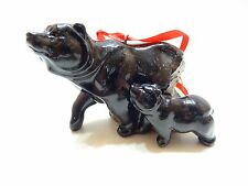New Big Sky Carvers Stonecast Black Momma Bear & Baby Bear Hanging Ornament