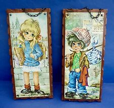 PAIR OF VINTAGE 'BIG EYE' CHILDREN PICTURES ON WOOD BASE - GOOD CONDITION