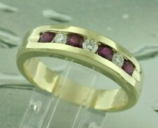 MENS MEN'S 1.01 ct DIAMOND & RUBY RING yellow gold 14k made USA luckyhhhjewelry