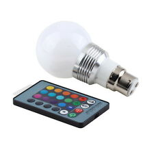 3W B22 16 Colors Changing RGB LED Light Bayonet Bulb Remote Control Lamp SY