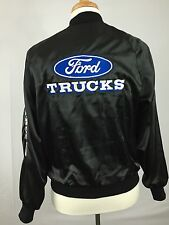 Vintage Ford Trucks Mens Nylon Satin Jacket Black Automotive Snap Coat Medium