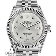 Woman's Rolex 26mm Datejust Silver Color Dial with 10 Round Diamond Watch