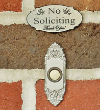 No Soliciting Sign Doorbell Sign - Stainless Steel color Engraved FREE SHIPPING