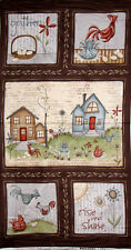 Red Rooster Home To Roost #23447 Roosters Chickens Hens Farm Cotton Fabric PANEL