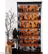 Halloween Black Lace Skeleton pumpkin Window Door Panel Curtain Home Decor