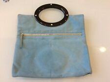 KATE SPADE JOCELYN CLUTCH IN LIGHT BLUE SUEDE $139.00