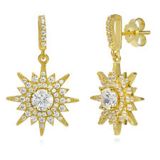 BERRICLE Yellow Gold Plated Sterling Silver CZ Starburst Dangle Drop Earrings
