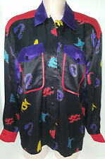 NWOT ESCADA Womens Geometric Blouse Shirt Size 38 Medium 12/14  Black Red