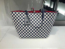 ZARA REVERSIBLE CHECKED BLUE/ECRU and RED SHOPPER BAG REF. 8486/004