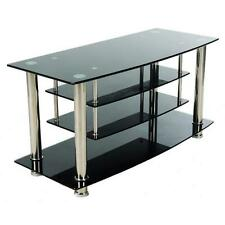 Black/ Chrome Tiered Tempered Glass TV Stand Console Center Entertainment