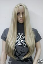 New no bangs honey ash blonde mix long straight synthetic hair women's full wig