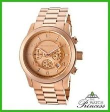 NEW Unisex Michael Kors MK8096 Rose-Plated Runway Chronograph Watch-RRP-£219