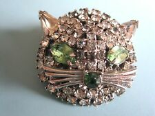 NEAT VINTAGE WEISS PALE GREEN EYES CAT, KITTEN HEAD BROOCH PIN