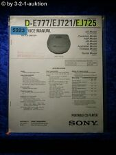 Sony Service Manual D E777 /EJ721 /EJ725 CD Player (#5923)