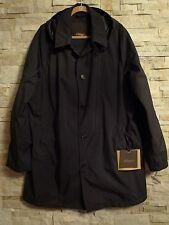 $1,3K ALLEGRI MILANO MENS BLACK CLASSIC TRENCH COAT WITH HOOD EURO SIZE 58 US 48