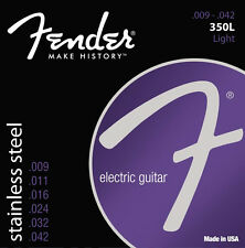 Fender 350L Stainless Steel Electric Guitar Strings 9-42 ball end