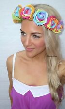 Rainbow Flower Crown White Crochet Head Hair Band Choochie Choo Day Of The Dead