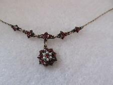 Vintage Victorian Bohemian Garnet & Seed Pearl Drop Dangle Necklace