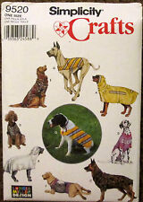 Simplicity Sewing Pattern #9520 LARGE SIZE DOG CLOTHES Raincoat Sweater UNCUT