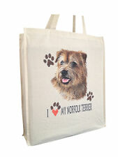 Norfolk Terrier Cotton Shopping Bag with Gusset and Long Handles Perfect Gift