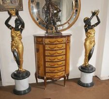Pair XL French Bronze Female Figurines Statues Blackamoors Architectural Signed