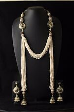 Polki Kundan Pearl Indian Bridal Necklace Earrings Set Bollywood Wedding Jewelry