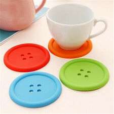 Cup Mug Glass Beverage Holder Pad Silicon Mat Coffee Placemat Button Coaster K7