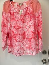 Democracy Womens Peach color  Peasant Top Size L NWT