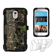HTC Desire 526 Hunter Tree Camo Hybrid Rugged Shell Case w/ Kickstand & Holster