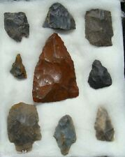 GROUP OF 9 HIGH GRADE GA ARROWHEADS/RIVER POINTS-EX CARTER-SURFACE FINDS