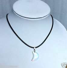 Fashion necklace opal necklace of new moon pattern with leather chain popular.