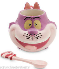 Disney Store Cheshire Cat Mug and Spoon Set 2015 Alice in Wonderland