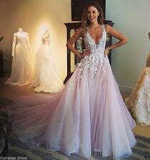 Pink/White/Ivory Lace Bridal Gown V neck Applique Wedding Dress Custom size 4-26