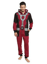 Marvel Deadpool Men's Onesie PJ Backpack Red/Black XL Costume Sleepwear Cosplay