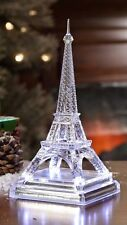 Eiffel Tower Sculpture - Clear Acrylic with Lighted, Silver Base - Stunning!!