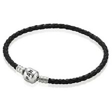 NEW AUTHENTIC PANDORA BLACK Single Leather Bracelet Medium (590705CBK-S2) 7.5 in