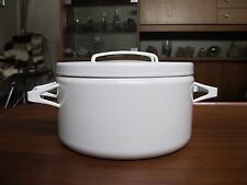 Enamel Dutch Oven by Seppo Mallat for Arabia Finland White Pan Scandinavian Pot