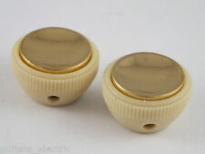 Replacement TEA CUPS KNOBS Cream + Gold Inserts for HOFNER Violin Bass & Guitars