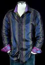 "Robert Graham ""Brute"" NWT $498 Limited Edition luminous Silk sports Shirt Large"