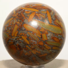 """2"""" Natural Bamboo Jasper Fossil Sphere Gemstone Crystal Mineral - China + Stand"""