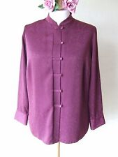 MARKS & SPENCER SIZE 18 PLUM ORIENTAL STYLE LONG SLEEVES BLOUSE WITH BUTTONS