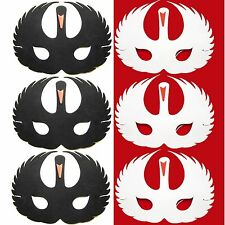 6 Foam Swan Masks - 3 White & 3 Black Swans - Childrens Animal Fancy Dress Masks